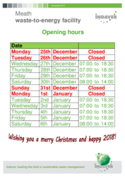 Meath Christmas Opening hours